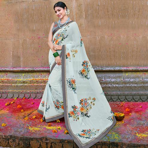Arresting Mint Blue Colored Party Wear Printed Georgette Saree