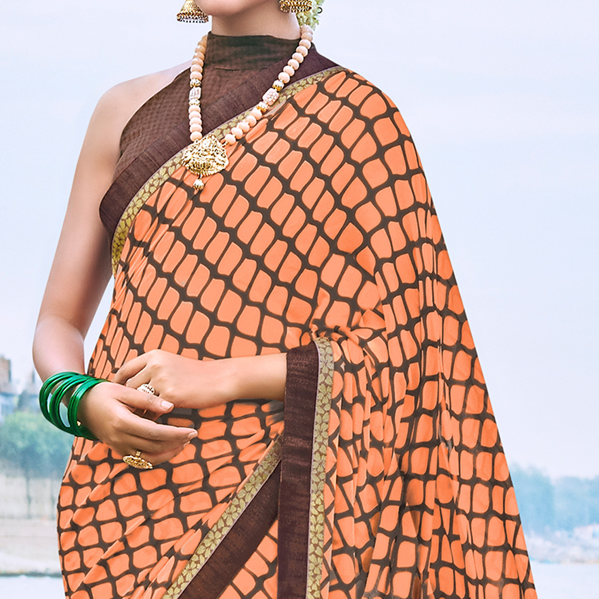 Exceptional Peach Colored Party Wear Printed Georgette Saree
