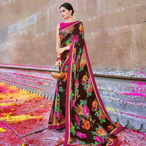 Ethnic Brown Colored Party Wear Printed Georgette Saree