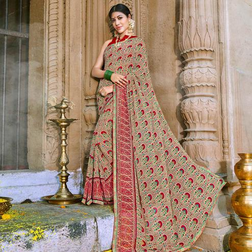 Starring Beige Colored Party Wear Printed Georgette Saree