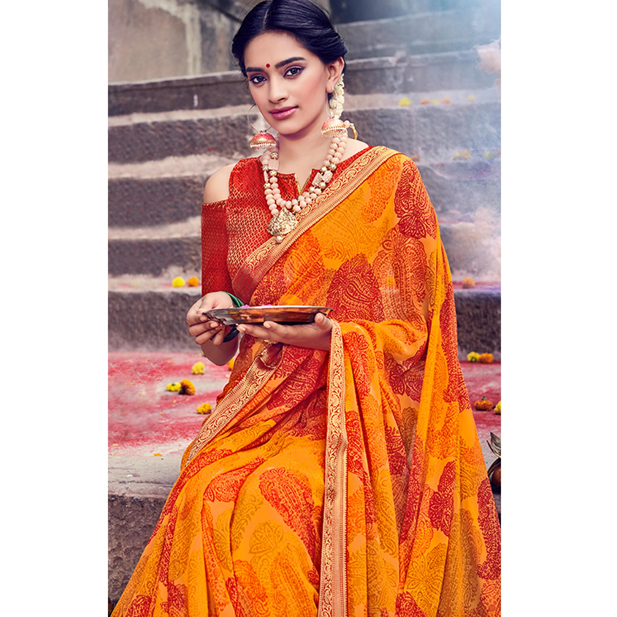 Surpassing Orange Colored Party Wear Printed Georgette Saree