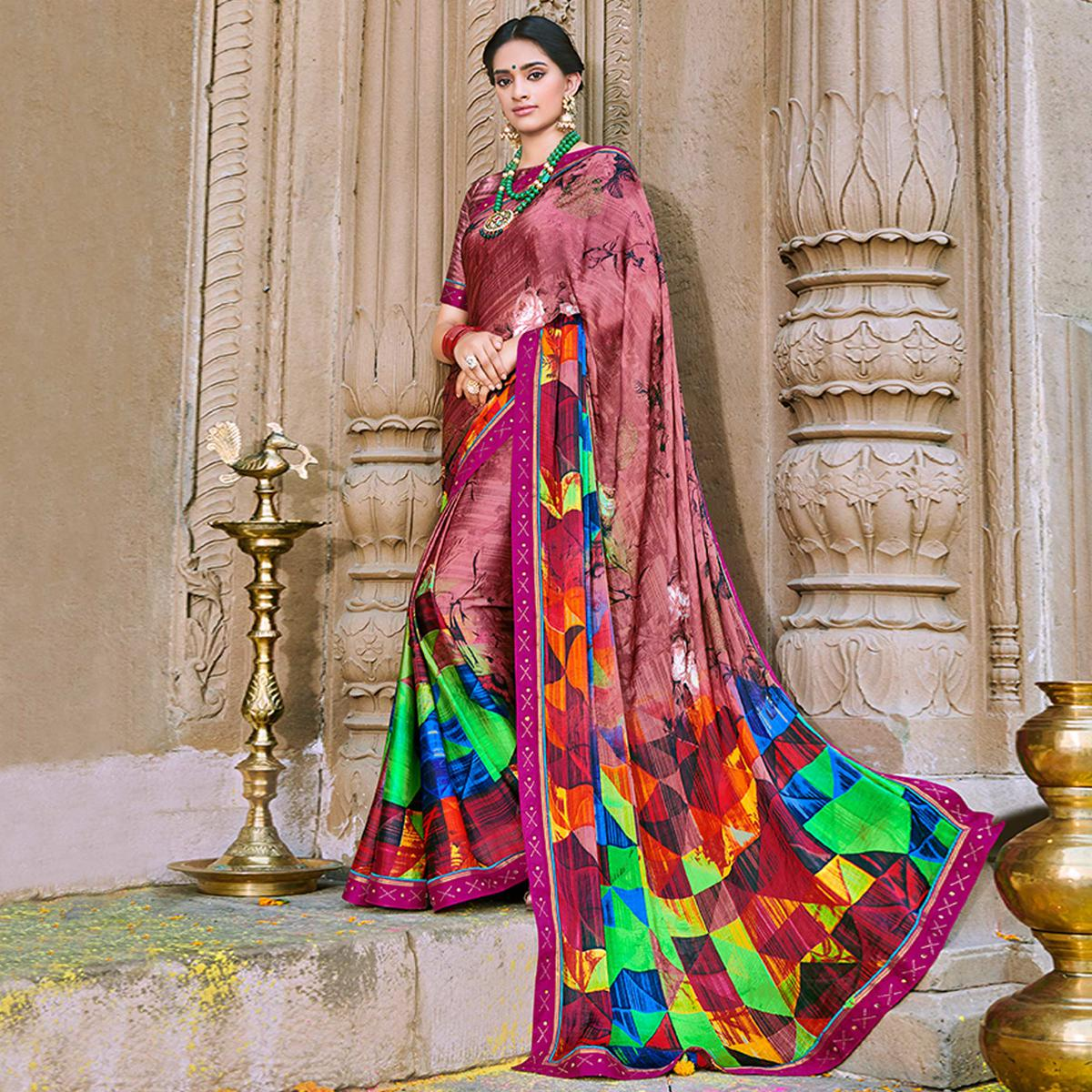 Entrancing Soft Mauve Colored Party Wear Printed Georgette Saree