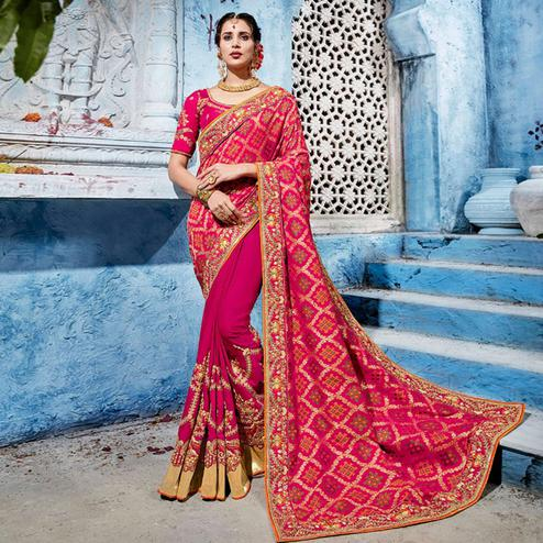 Groovy Rani Pink Colored Wedding Wear Embroidered Silk Saree