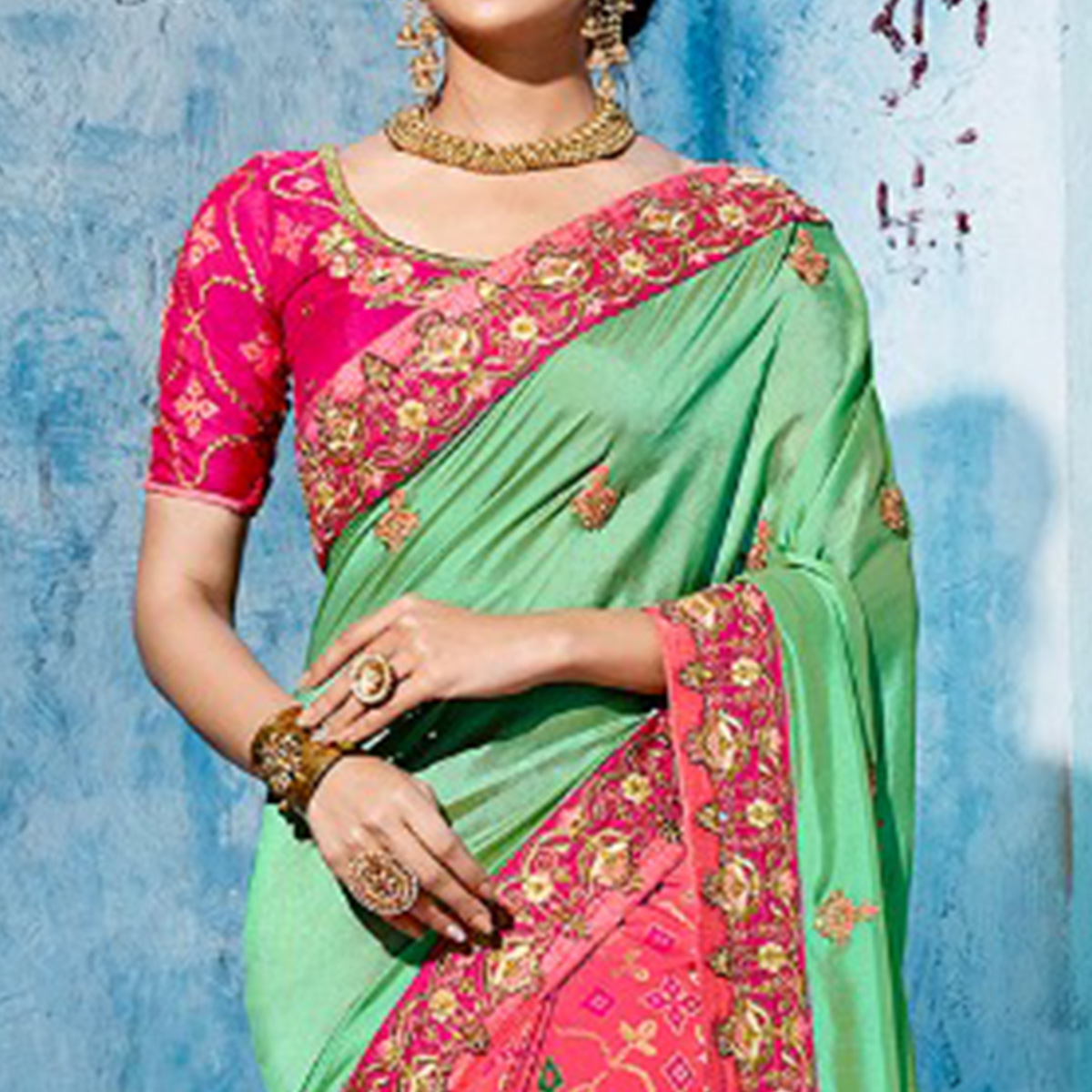 Prominent Green-Pink Colored Wedding Wear Embroidered Silk Saree