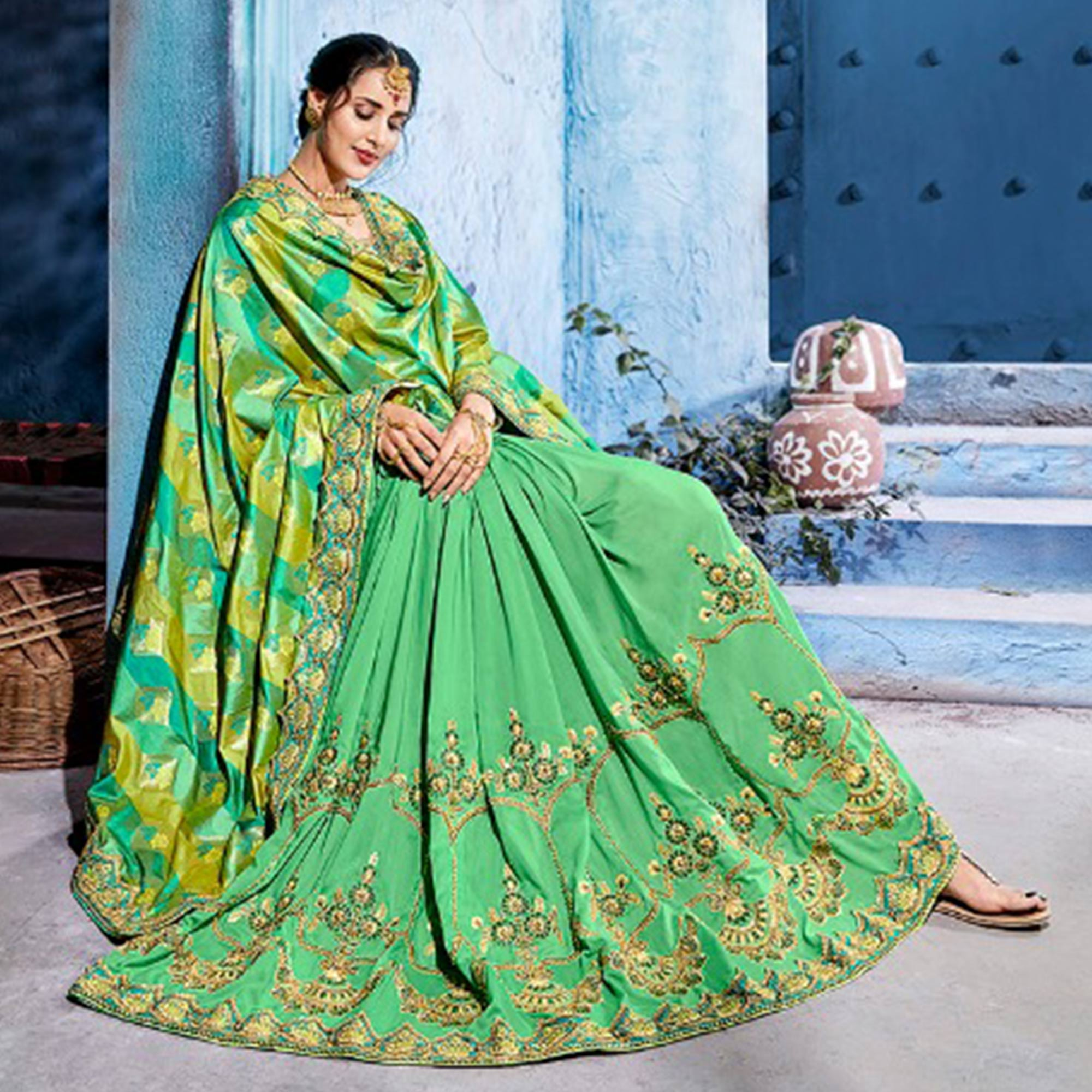 Capricious Pale Green Colored Wedding Wear Embroidered Silk Saree