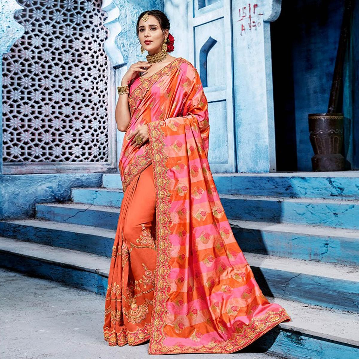 Adorning Peach-Pink Colored Wedding Wear Embroidered Silk Saree