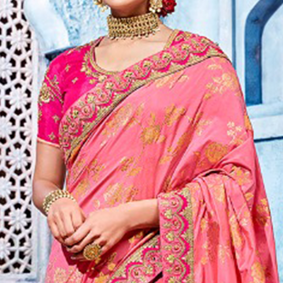 Captivating Pink Colored Wedding Wear Embroidered Silk Saree