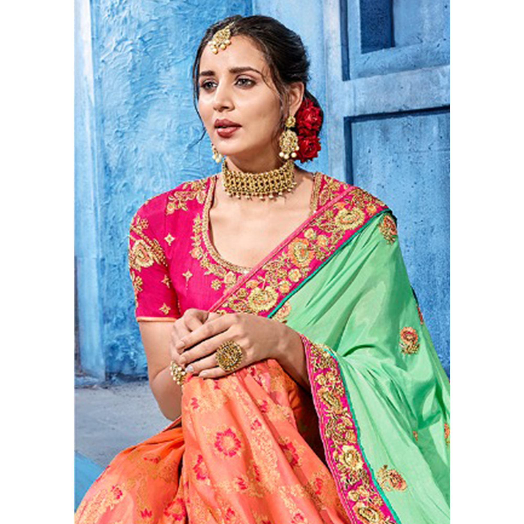 Flirty Green-Peach Colored Wedding Wear Embroidered Silk Saree