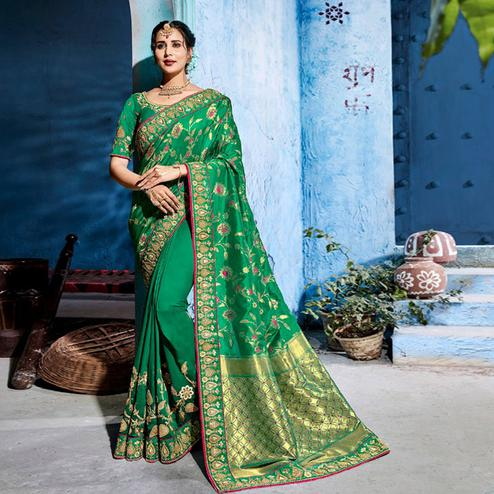 Glowing Green Colored Wedding Wear Embroidered Silk Saree