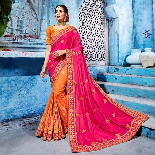 Hypnotic Pink-Orange Colored Wedding Wear Embroidered Silk Saree