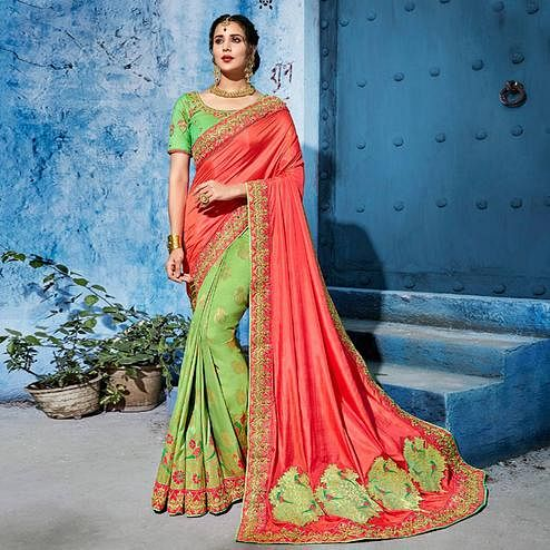 Trendy Pink-Green Colored Wedding Wear Embroidered Silk Saree