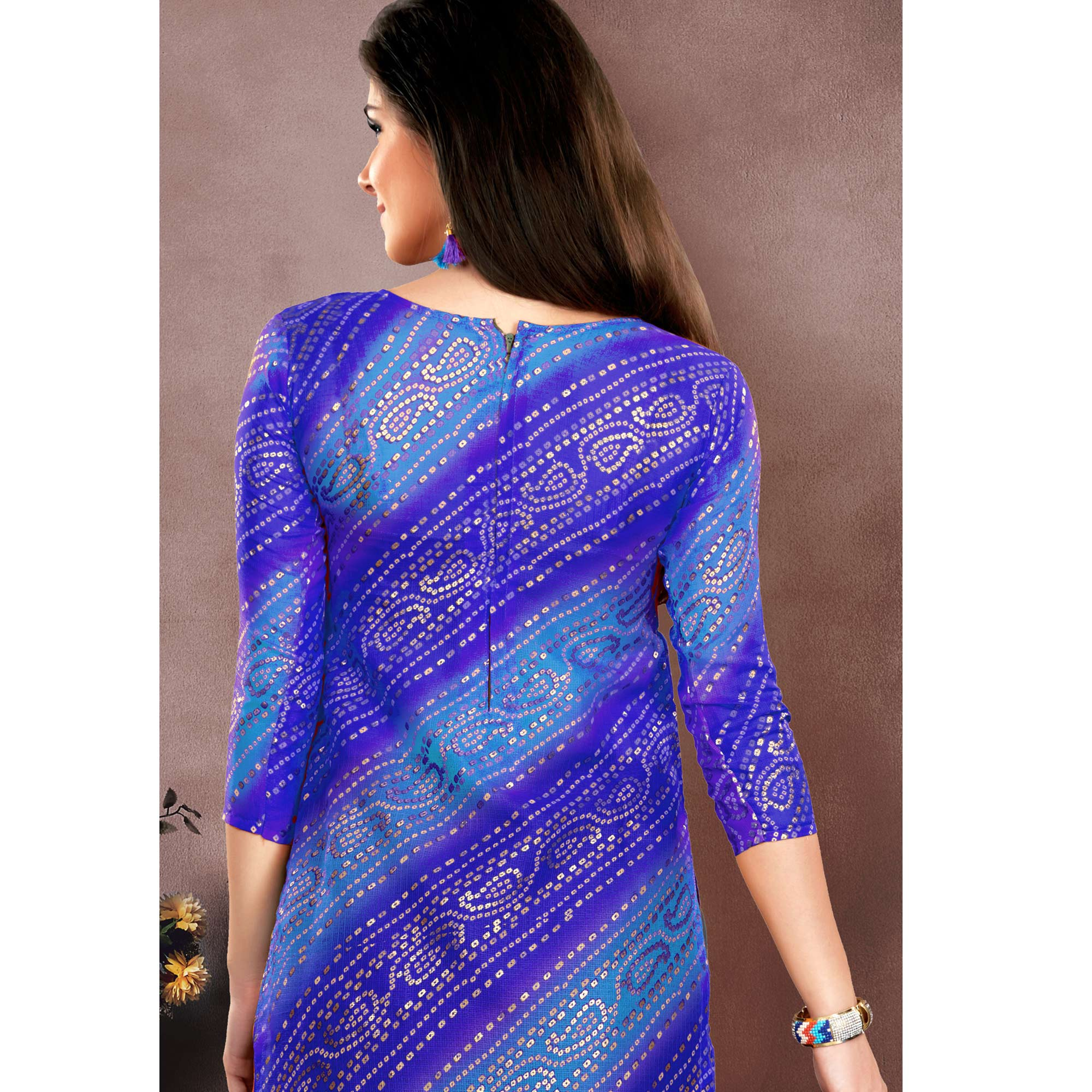 Favorite Blue Colored Embroidered Partywear Chanderi Silk Dress Material