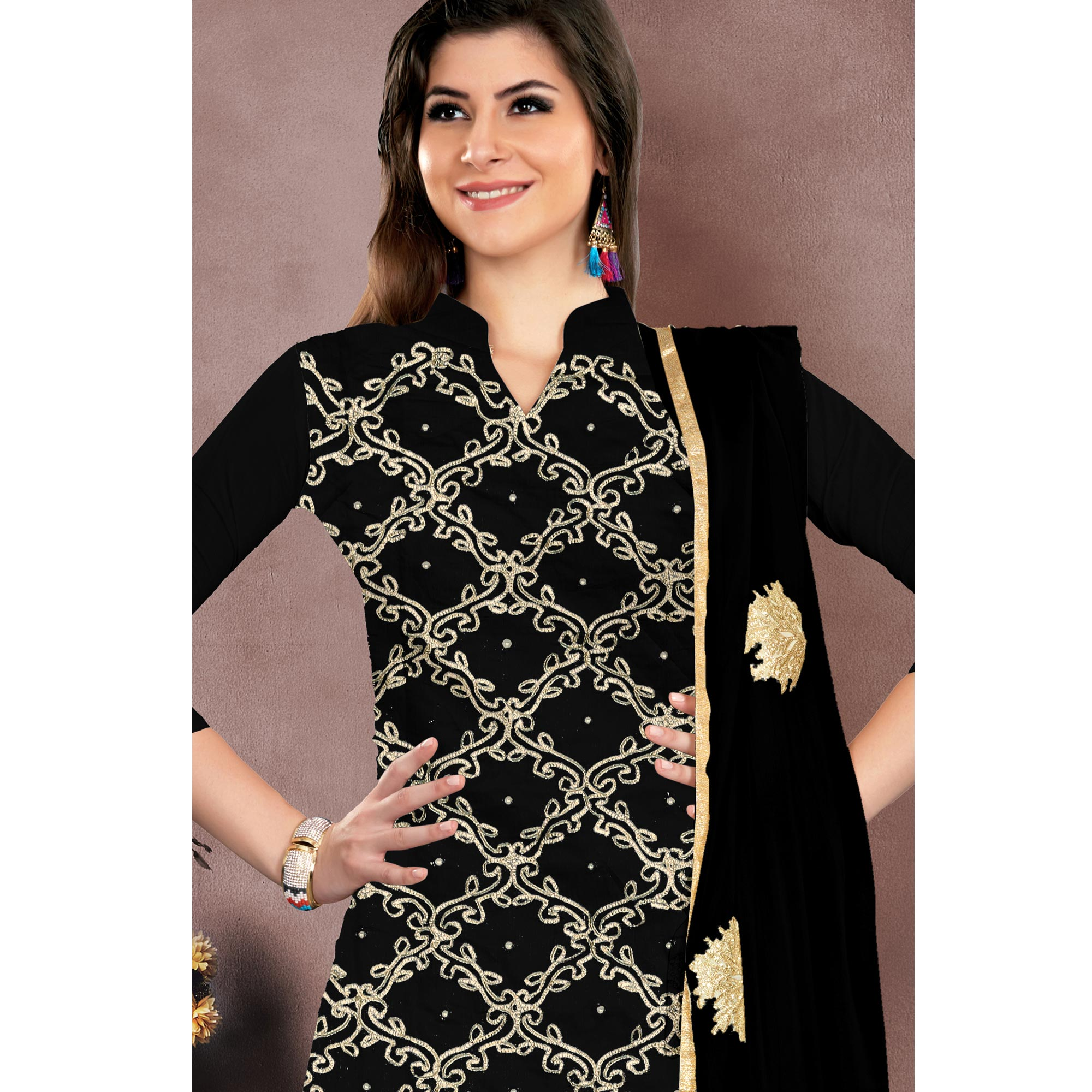 Blooming Black Colored Embroidered Partywear Chanderi Silk Dress Material