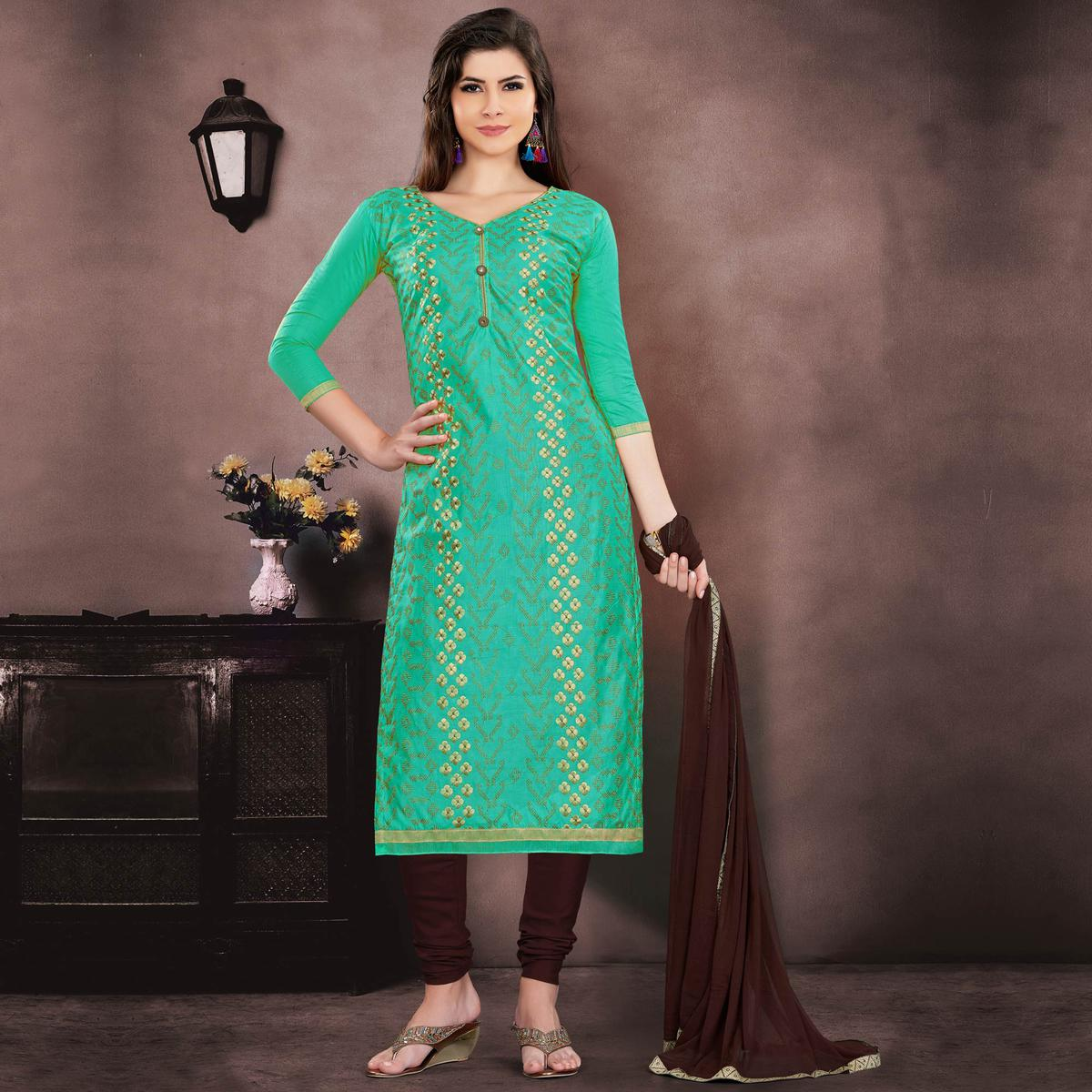 Groovy Green Colored Embroidered Partywear Chanderi Silk Dress Material