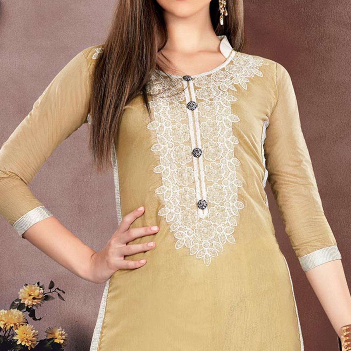 Pleasant Beige Colored Embroidered Partywear Chanderi Silk Dress Material
