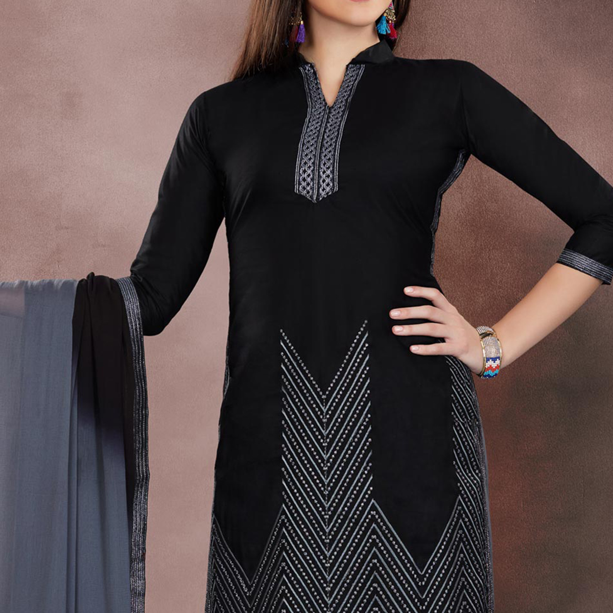 Classy Black Colored Embroidered Partywear Cotton Dress Material