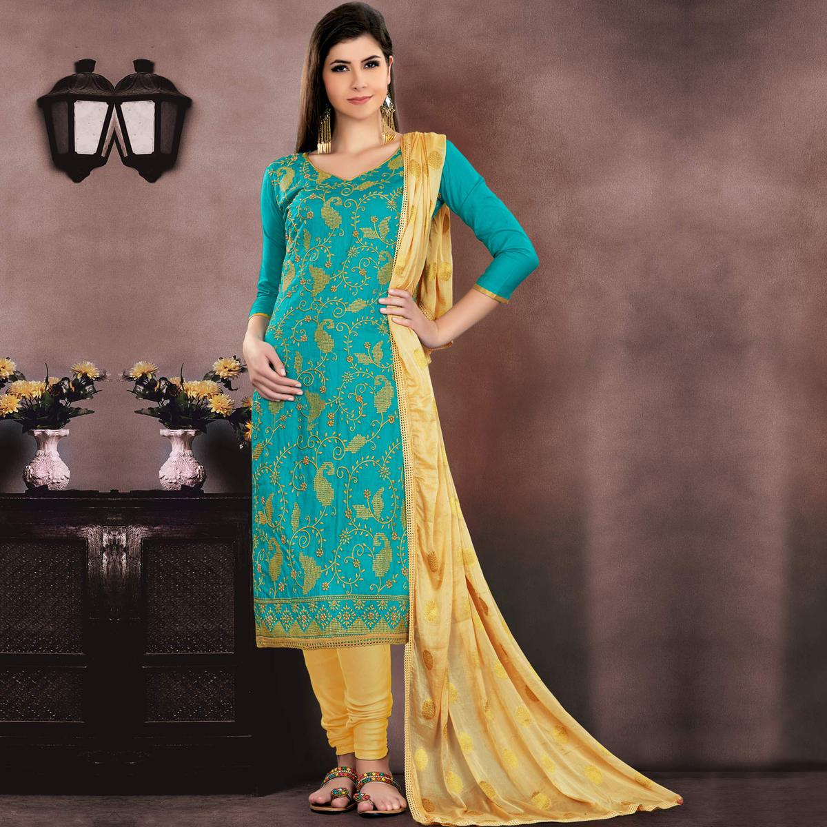 Different Turquoise Green Colored Embroidered Partywear Cotton Dress Material