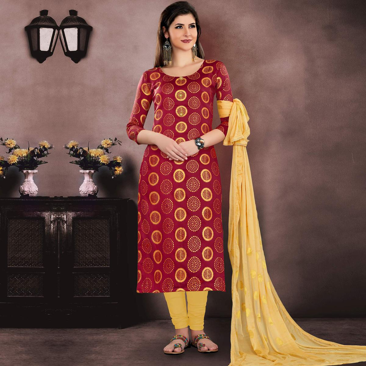 Traditional Maroon Colored Embroidered Partywear Jacquard Silk Dress Material