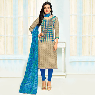Sizzling Beige - Blue Checkered Embroidered Suit