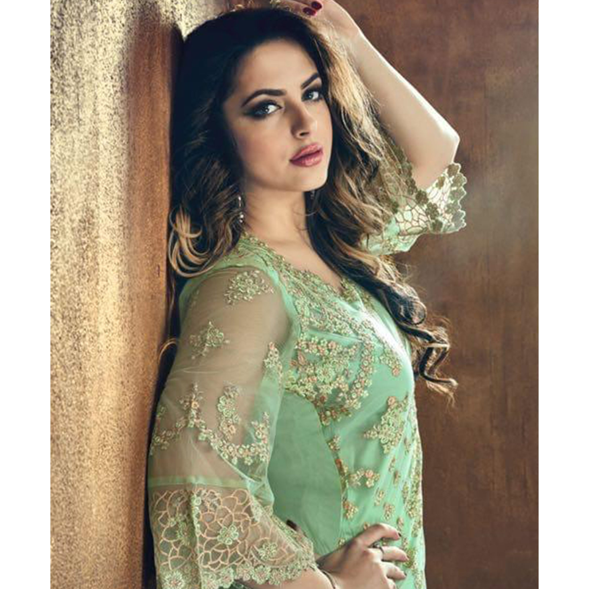 Classy Pista Green Colored Party Wear Embroidered Heavy Net Palazzo Suit