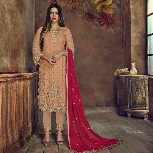 Glorious Peach Colored Party Wear Embroidered Heavy Net Suit