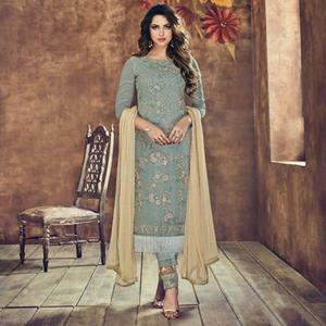 Pretty Grey Colored Party Wear Embroidered Heavy Net Suit