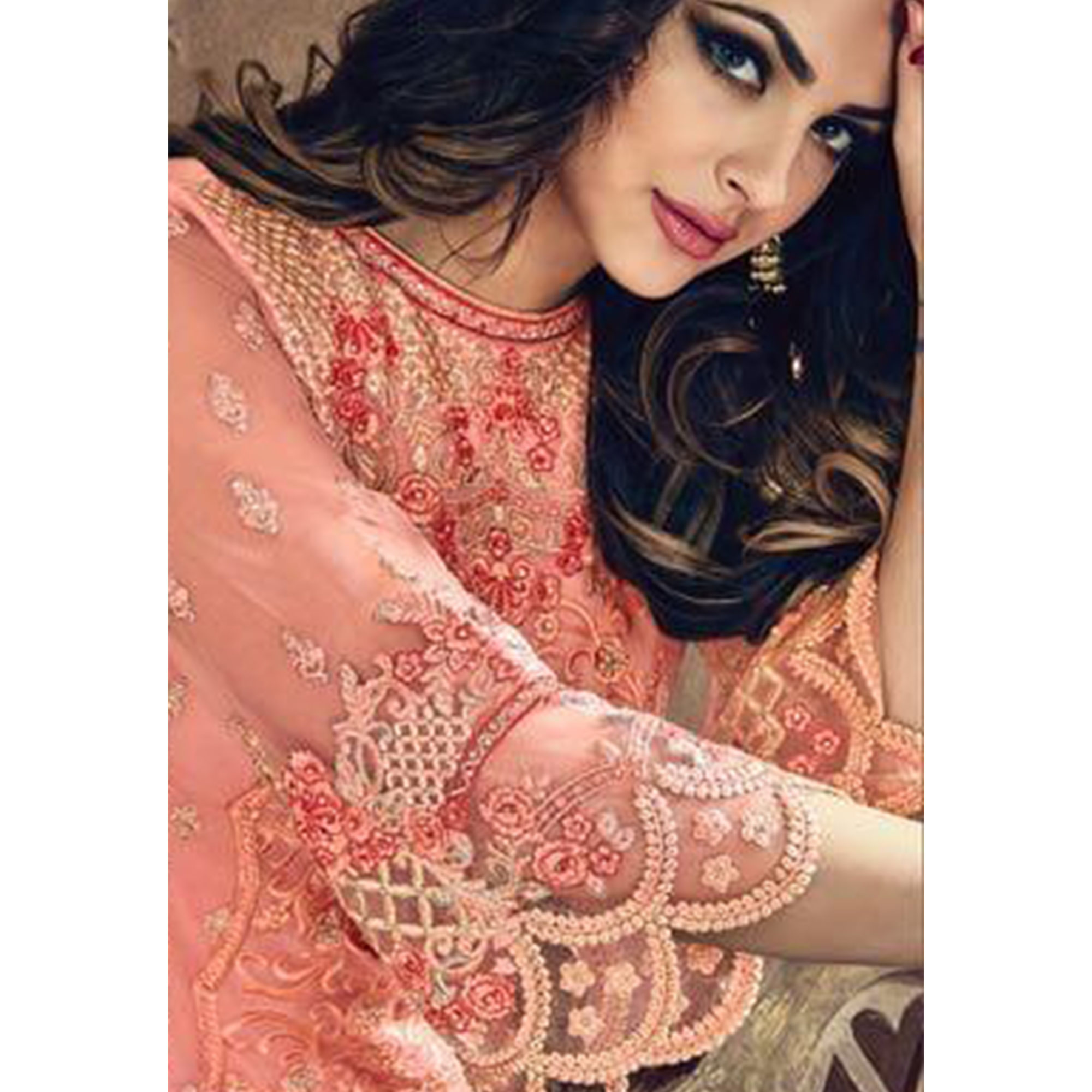 Charming Pink Colored Party Wear Embroidered Heavy Net Suit