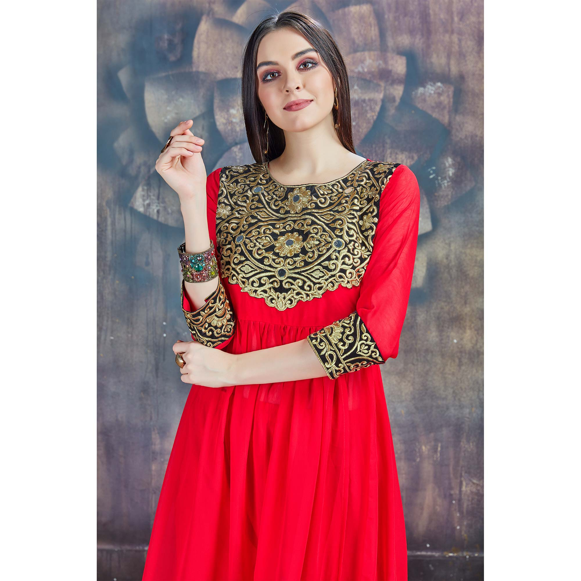 Stunning Red Colored Partywear Embroidered Georgette Suit