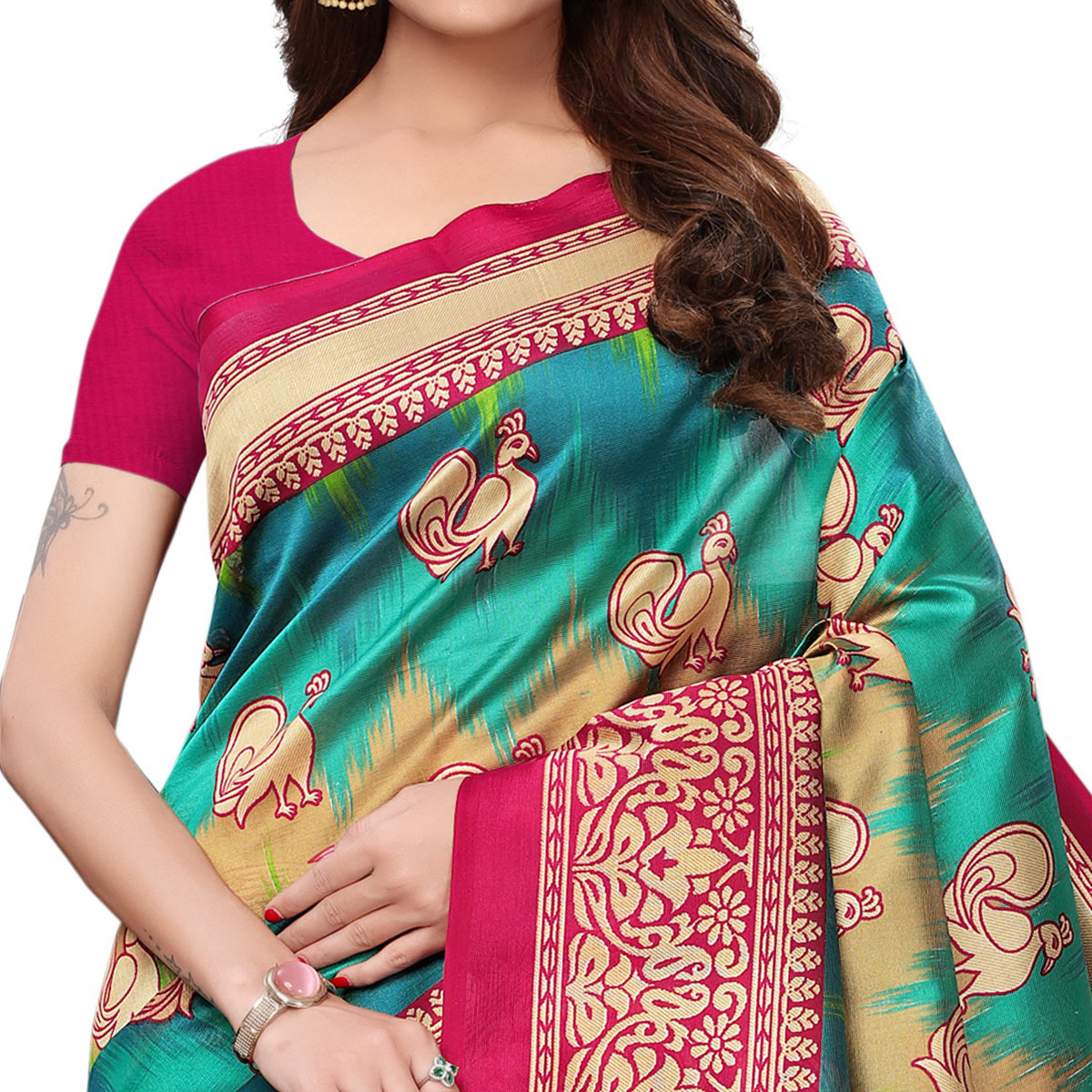 Imposing Multi-Pink Colored Festive Wear Printed Art Silk Saree