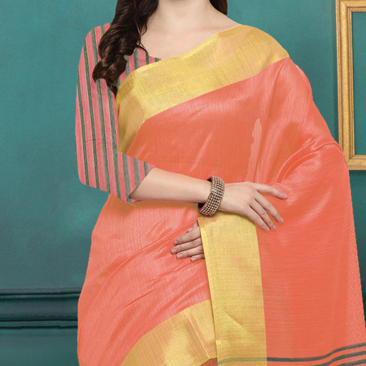 Peach Chicha Silk Weaving Work Saree
