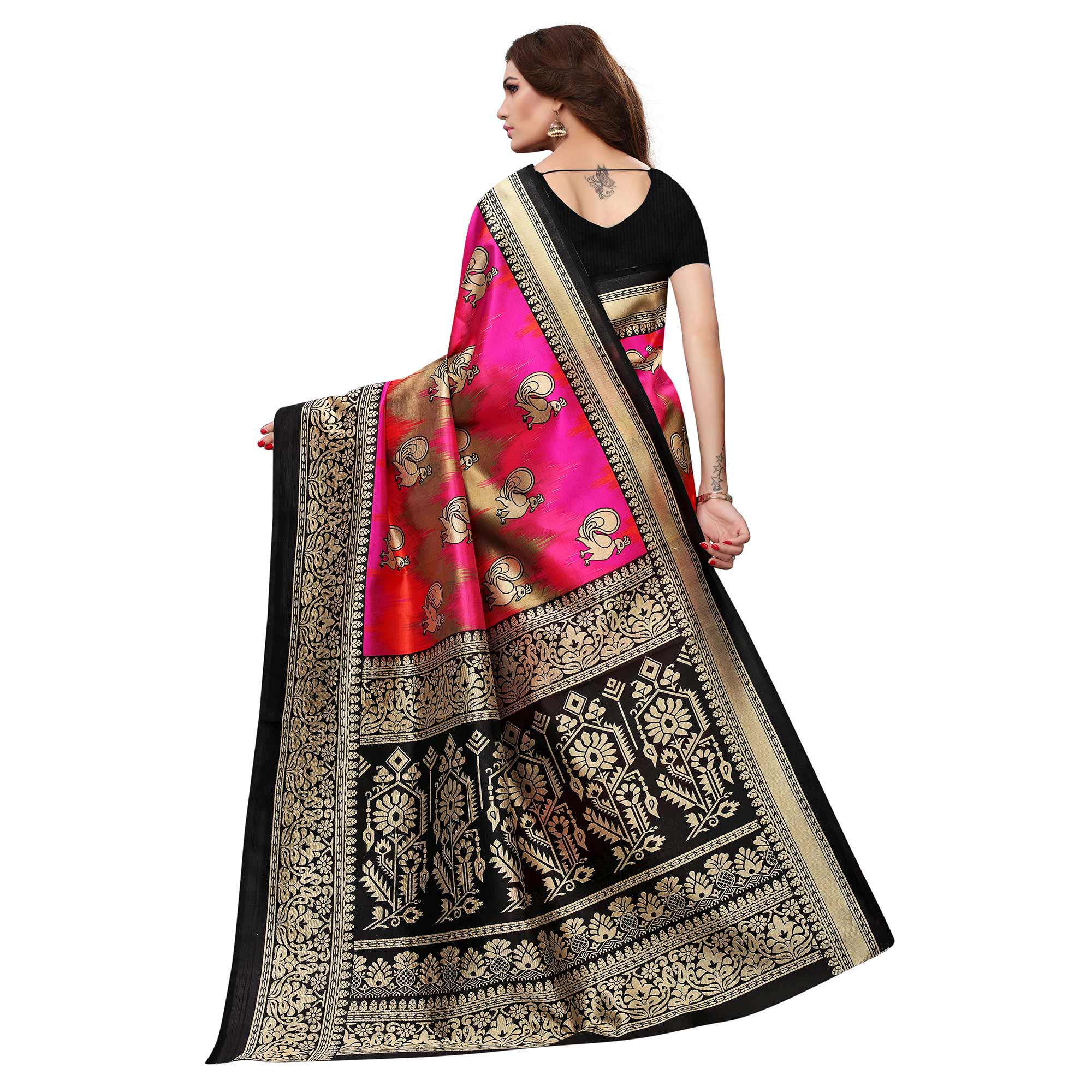 Blissful Pink-Black Colored Festive Wear Printed Art Silk Saree