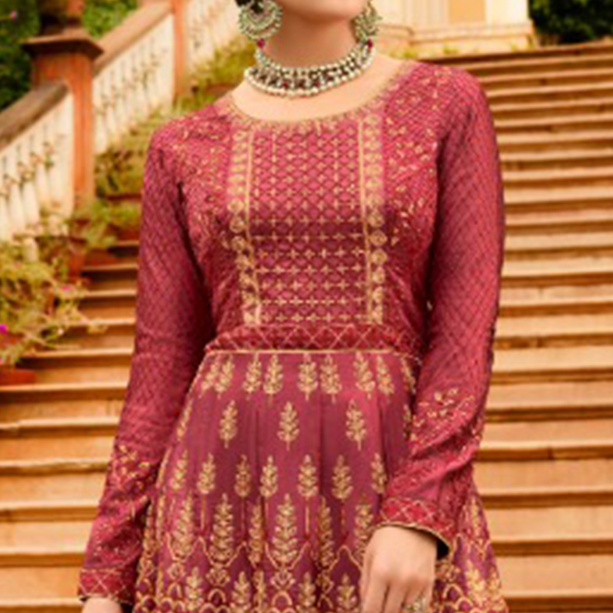 Exceptional Maroon Colored Partywear Embroidered Silk Anarkali Suit