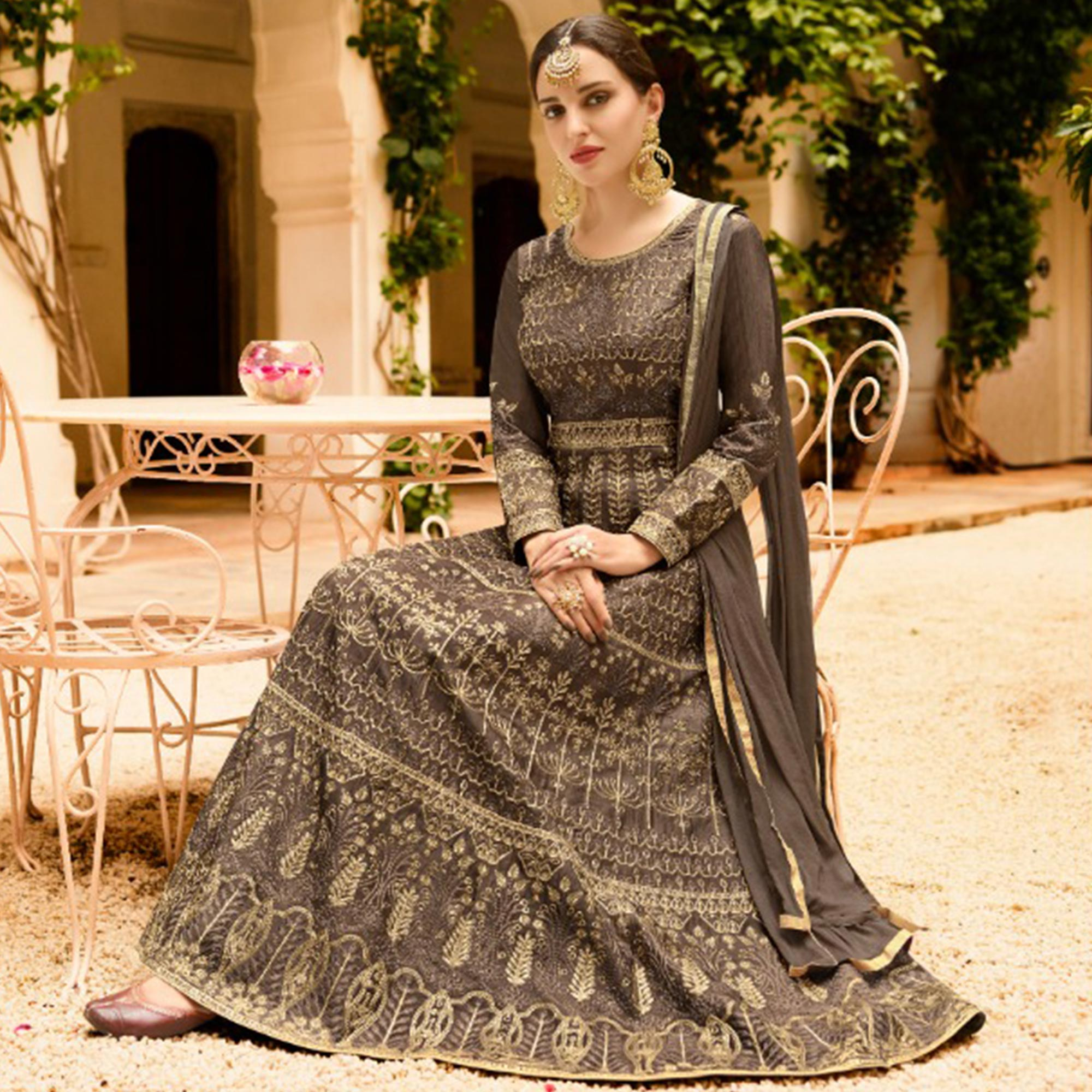 Marvellous Dark Gray Colored Partywear Embroidered Silk Anarkali Suit