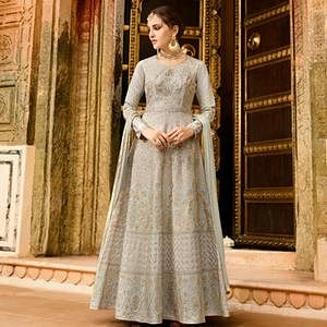 Amazing Light Gray Colored Partywear Embroidered Silk Anarkali Suit