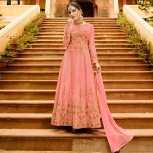 Demanding Pink Colored Partywear Embroidered Silk Anarkali Suit