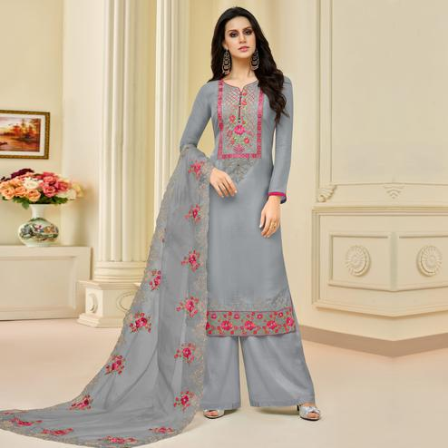 Marvellous Gray Colored Partywear Embroidered Pure Uppada Silk Palazzo Suit