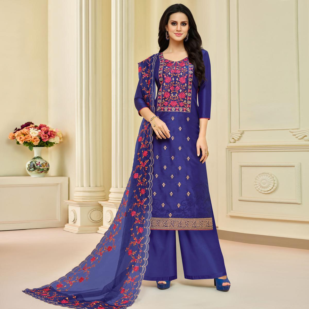 Impressive Purple Colored Partywear Embroidered Pure Uppada Silk Palazzo Suit