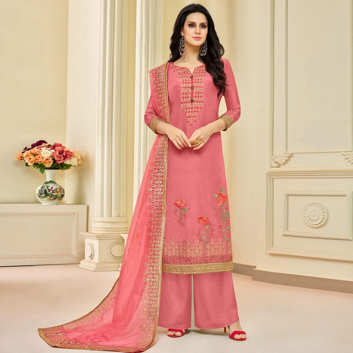 Appealing Pink Colored Partywear Embroidered Pure Uppada Silk Palazzo Suit