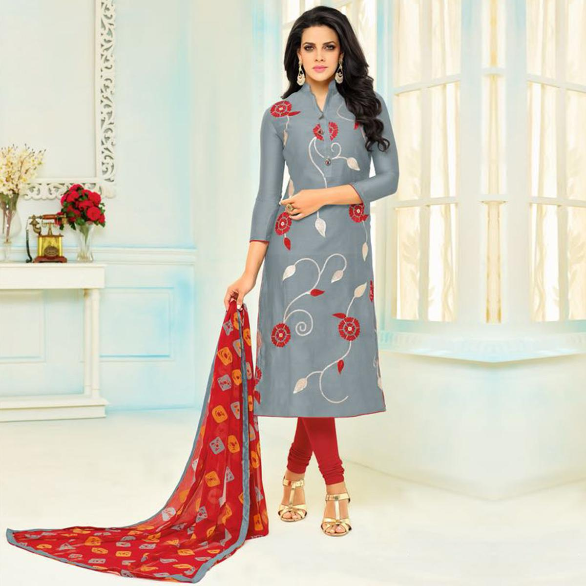 Gorgeous Grey Chanderi Cotton Floral Embroidered Suit