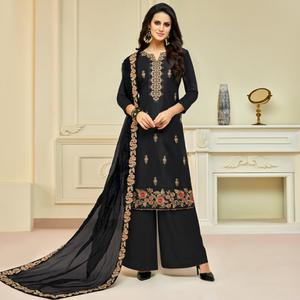 Flaunt Black Colored Partywear Embroidered Pure Uppada Silk Palazzo Suit