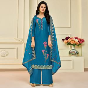 Glowing Blue Colored Partywear Embroidered Pure Uppada Silk Palazzo Suit
