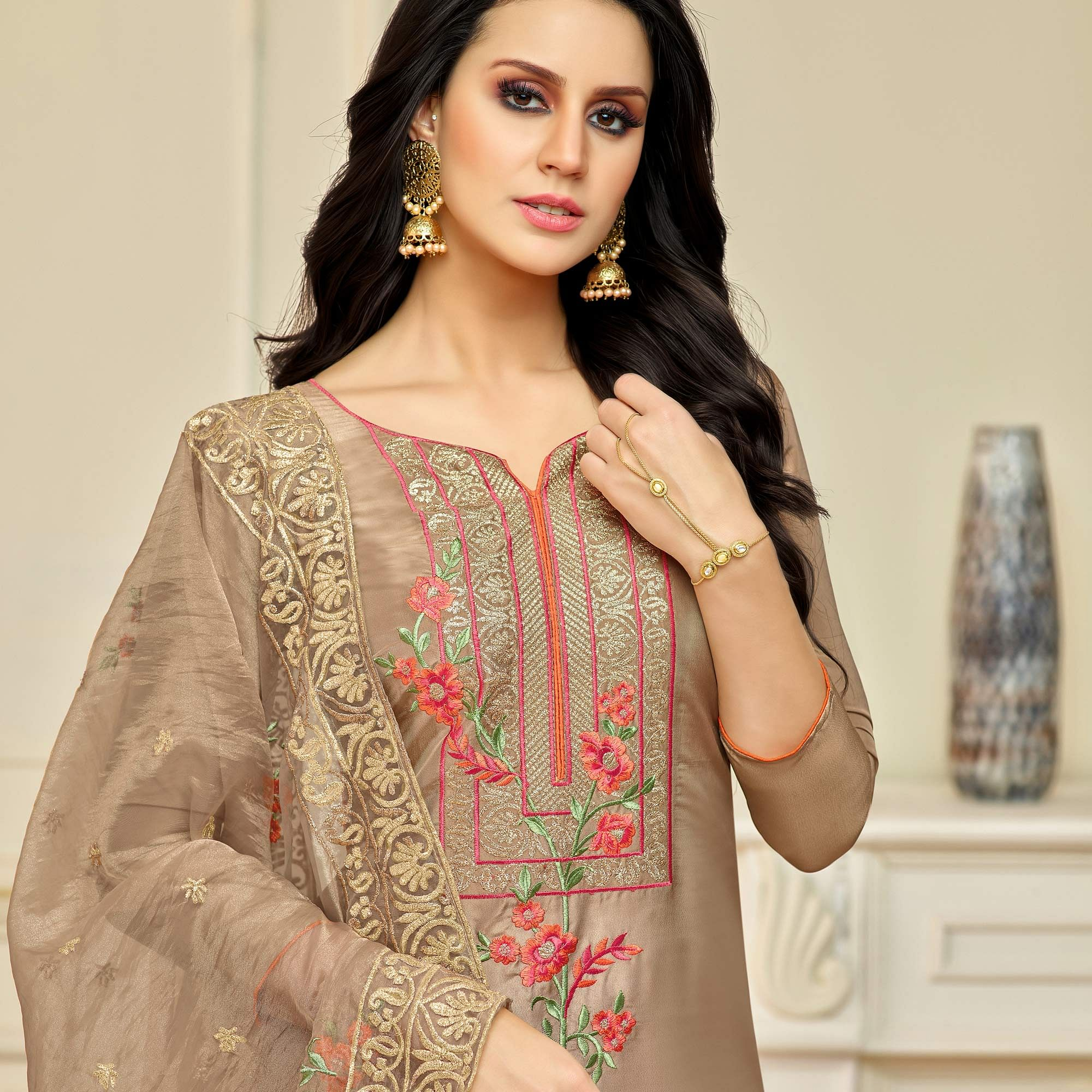 Amazing Light Brown Colored Partywear Embroidered Pure Uppada Silk Palazzo Suit