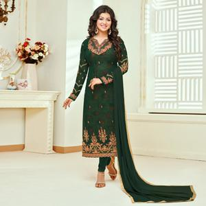 Amazing Green Colored Partywear Embroidered Faux Georgette Suit
