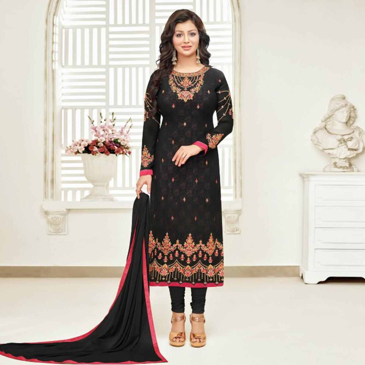Flaunt Black Colored Partywear Embroidered Faux Georgette Suit