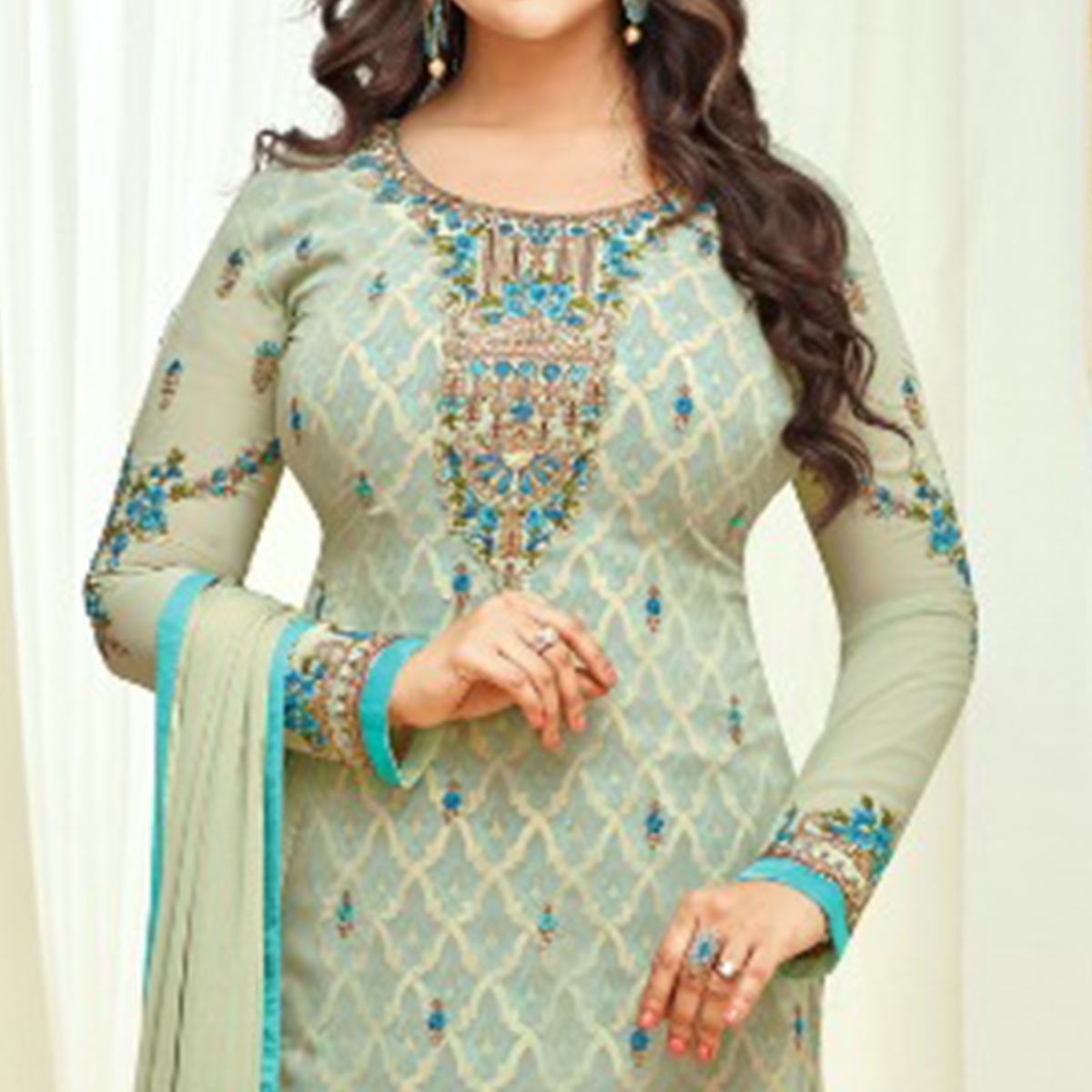 Refreshing Light Aqua Green Colored Partywear Embroidered Faux Georgette Suit