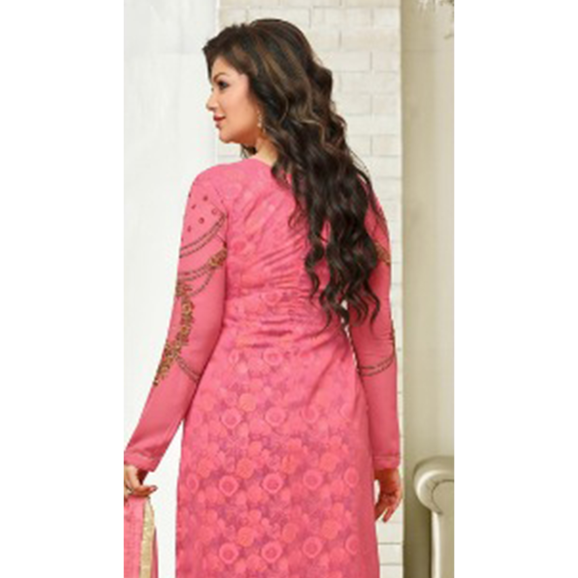 Flattering Pink Colored Partywear Embroidered Faux Georgette Suit
