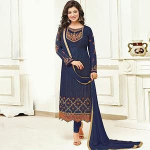 Blooming Navy Blue Colored Partywear Embroidered Faux Georgette Suit
