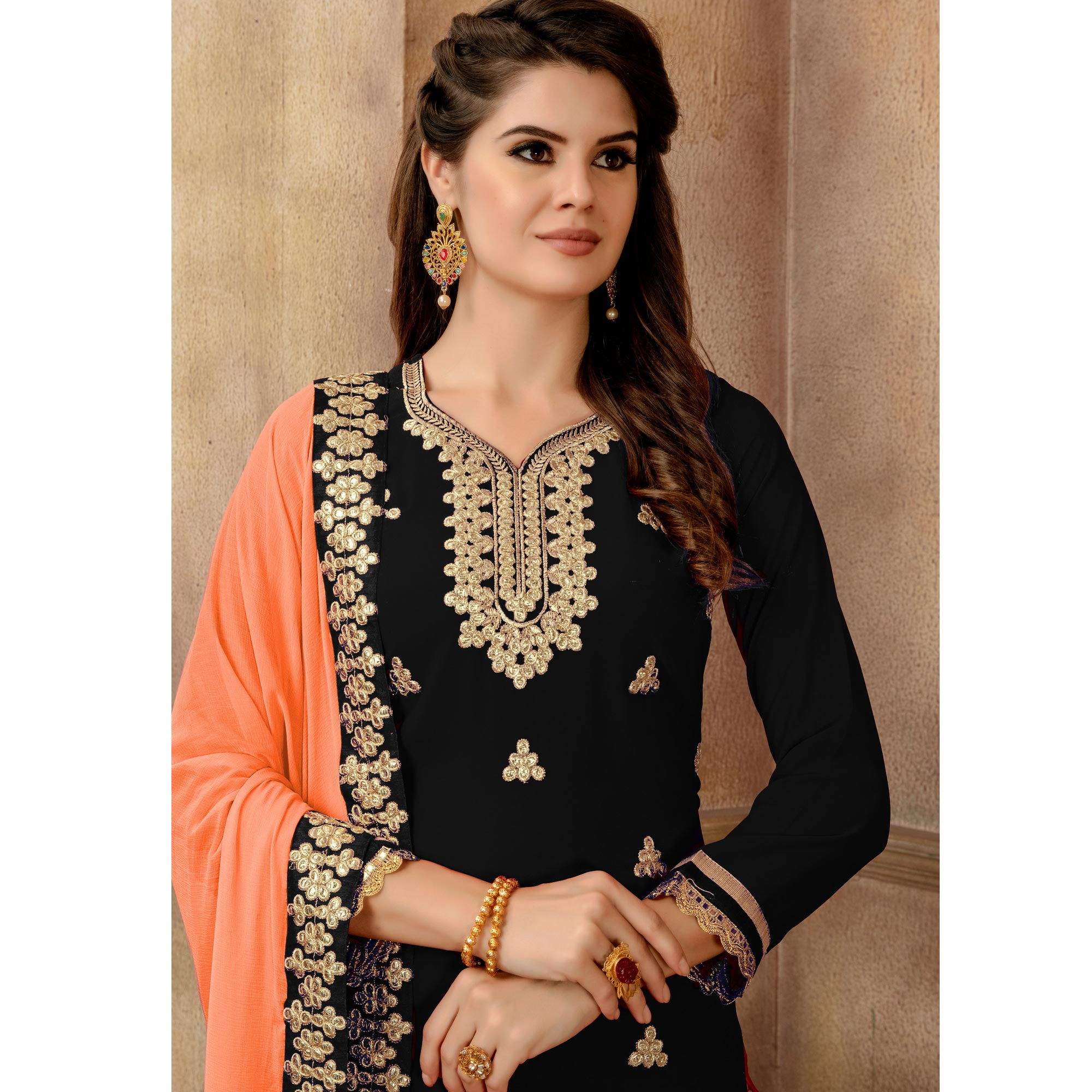Arresting Black Colored Partywear Embroidered Faux Georgette Palazzo Suit