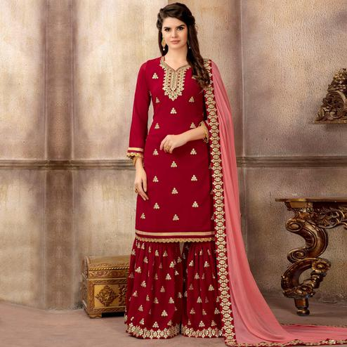 Trendy Red Colored Partywear Embroidered Faux Georgette Palazzo Suit