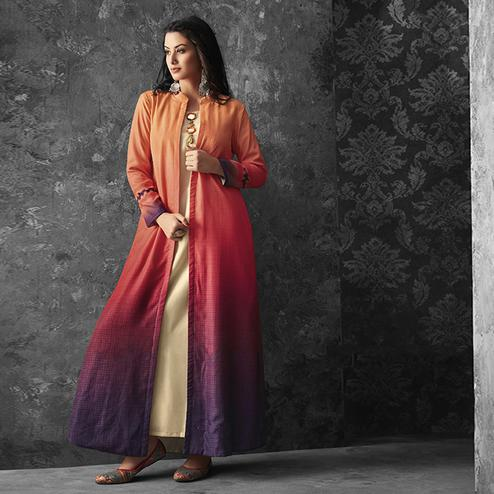 Innovative Cream-Multicolored Party Wear Fancy  Cotton Kurti With Linen Jacket